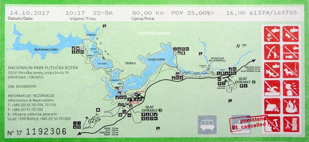 visita lagos Plitvice mapa